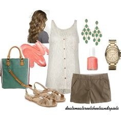 """""""Summer neutrals w/ a pop of peach"""" by enjoytheview on Polyvore"""