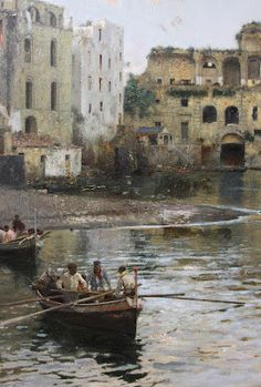 Gaetano Esposito - Palazzo Donn'Anna a Posillipo (detail) Watercolor Artists, Watercolor Paintings, Outdoor Paint, Naples Italy, Great Paintings, Traditional Paintings, Nature Photos, Painting & Drawing, Fantasy Art