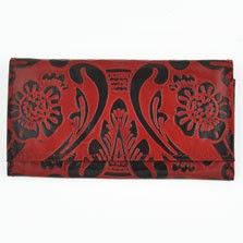 Our leather floral vines tri fold wallet is a unique and stylish way to carry your cash and cards. There is plenty of space for all your cards, a clear ID holder, and two zippered compartments that create five conveniently divided spaces. This highly organized wallet compliments the bohemian style of our selection of unique hippie handbags and hobo bags. Features front snap closure to ensure the items contained are safe and secure.  $12.00