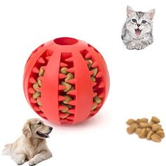 Petbob 1PC Pet Chew BallDog Ball ToyNonToxic Rubber Funny IQ Pet Dog Ball Silicon Teeth ToyChew Squeaky Sound Christmas Dogs Cats Tooth Cleaning Playing ToysColor is Random >>> To view further for this item, visit the image link.