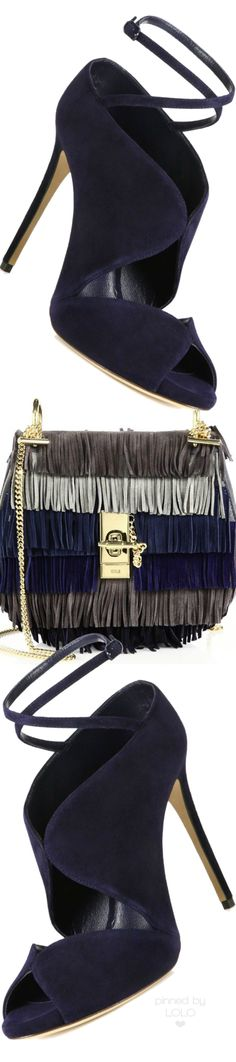 Casadei Shoes and Chloe Drew Small Suede Fringe Shoulder Bag | LOLO❤
