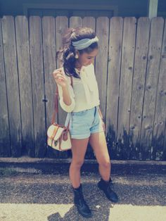 White button down with high-rise denim shorts