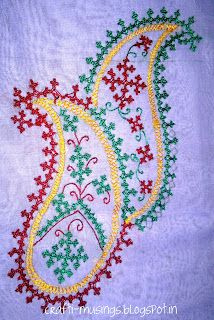 Hand embroidery on saree with Kutch work / Maltese cross / Armenian / Sindhi embroidery Paisley Embroidery, Hand Work Embroidery, Hand Embroidery Stitches, Hand Embroidery Designs, Embroidery Techniques, Ribbon Embroidery, Cross Stitch Embroidery, Embroidery Patterns, Folk Embroidery