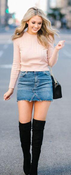 Light Pink Top / Denim Skirt / Black OTK Boots / Black Shoulder Bag