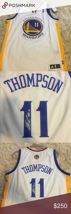 a5585e9ce0b Autographed Klay Thompson Large Adidas Jersey White