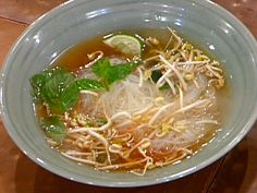 Pho Ga (Vietnamese Chicken Noodle Soup) recipe from Emeril Lagasse via Food Network Pho Soup Recipe Chicken, Vietnamese Chicken Noodle Soup Recipe, Asian Chicken Noodle Soup, Chicken Recipes, Chicken Pho, Chicken Bones, Asian Recipes, Ethnic Recipes, Asian Foods