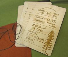 Custom engraved wood invitations by RobertoSand on Etsy, $8.75 each.  Very original and nontraditional.