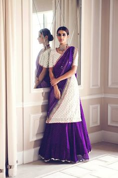 Simple and elegant, this Rana's by Kshitija white purple kurta lehenga is perfect for the summer wedding #Frugal2Fab