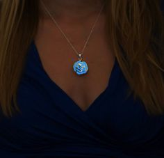 Royal Blue Rose Necklace Glow in the Dark Necklace by EpicGlows