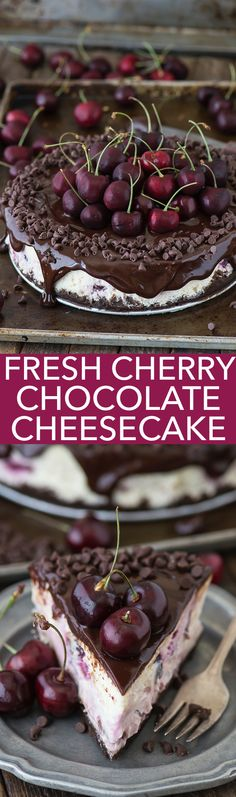 Fresh chocolate cherry cheesecake recipe with a chocolate crust, fresh cherries baked into the cheesecake, dripping with ganache. (Cherry Cheesecake Recipes)