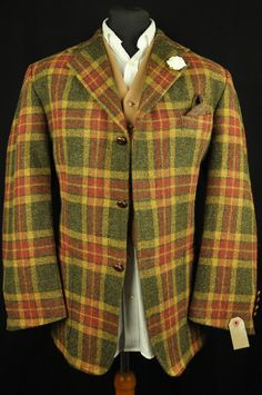 """Vtg Orvis Harris Tweed Tartan Check Country Hacking Jacket 44"""" #220 PRISTINE in Clothes, Shoes & Accessories, Men's Clothing, Coats & Jackets 