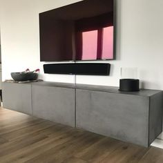 WhatsApp Image at Modern Tv Unit Designs, Modern Tv Wall Units, Living Room Decor Inspiration, Tv Furniture, Home Theater Rooms, Living Room Tv, Gray Interior, Home Deco, Living Room Designs