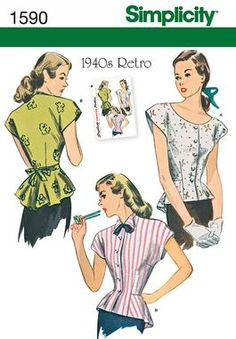 Simplicity Creative Group - Misses' 1940's Retro Blouse I want to make soooo many of these