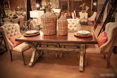 Urban Farmhouse Designs signature farmhouse table and deconstructed chairs,