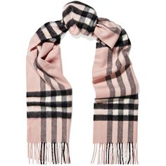 BurberryFringed Checked Cashmere Scarf ($525) ❤ liked on Polyvore featuring accessories, scarves, fringe shawl, cashmere scarves, burberry shawl, black and white scarves and black and white shawl