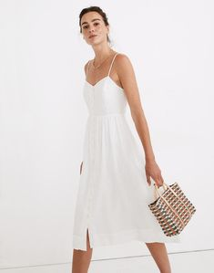 Linen-Blend Cami Button-Front Midi Dress Cute Floral Dresses, Button Front Dress, Mini Dress With Sleeves, Tiered Dress, White Fashion, Get The Look, Dress Outfits, Women's Dresses, Dress Skirt