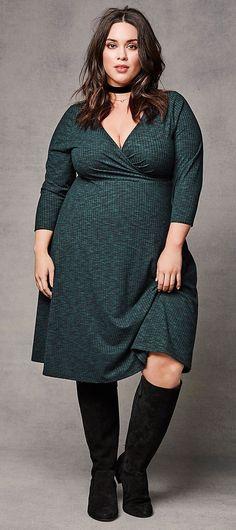 Plus Size Ribbed Knit Surplice Dress