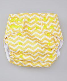 Look at this #zulilyfind! Lotus Bumz Yellow Zigzag Pocket Diaper by Lotus Bumz #zulilyfinds