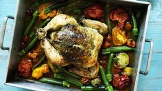 Herb butter roast chicken with summer vegetables recipe