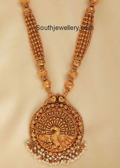 Graceful Gold Beads Necklace with Designer Pendant - Indian Jewellery Designs Gold Jewellery Design, Gold Jewelry, Peacock Jewelry, Gold Necklaces, Antique Jewellery, Jewelry Patterns, Or Antique, Indian Jewelry, Pendant Jewelry