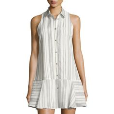Dolce Vita Drew Striped Fit-and-flare Shirtdress In White/blue Striped Shirt Dress, Shirtdress, Fit And Flare, Beauty Tricks, Clothes, Dress Long, Flare Dress, Recovery, Dresses