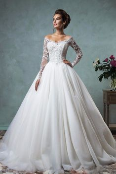 Cheap robe de mariage, Buy Quality modern bride directly from China bridal gown Suppliers: High Quality Modern Bride Gowns Lace Long Sleeves Off the Shoulder Ball Gown Wedding Dress Bridal Gowns Vintage Robe De Mariage Popular Wedding Dresses, Disney Wedding Dresses, 2016 Wedding Dresses, Bridal Dresses, Trendy Wedding, Wedding Ideas, Lace Sleeve Wedding Dress, A Line Wedding Dress With Sleeves, Lace Wedding Dress Ballgown