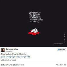 """So reagieren Zeichner aus aller Welt auf den Tod ihrer Kollegen beim Satiremagazin Charlie Hebdo"""": Bernardo Erlich: """"Unsere Welt ist ein so ernster Ort geworden, dass Humor ein gefährliches Metier ist."""" Mehr dazu hier: http://www.nachrichten.at/nachrichten/weltspiegel/Charlie-Hebdo-als-Zeitschrift-der-Ueberlebenden;art17,1598439 (Bild: Bernardo Erlich)"""