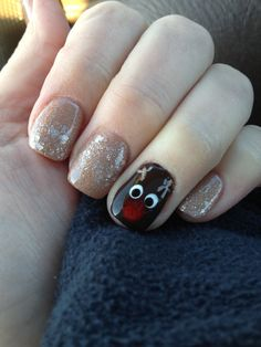 I love the reindeer nail! I'd probably do the rest of my nails a nude color!