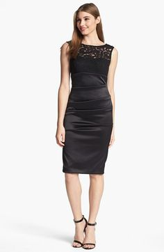 Xscape Lace Yoke Ruched Sheath Dress available at #Nordstrom