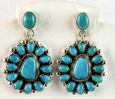 NAVAJO TURQUOISE STERLING EARRINGS  - SLEEPING BEAUTY STONES BY KATHLEEN CHAVEZ