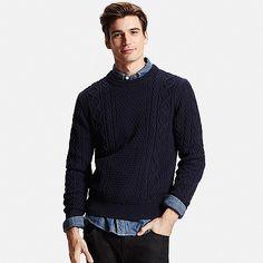 MEN Cable Crew Neck Sweater
