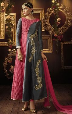 Admirable Gray and Pink Designer Salwar Suit