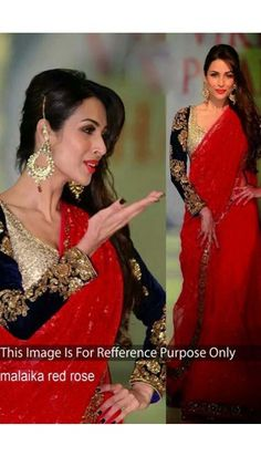 Malaika Arora Red Net Saree With Art silk Blouse - DMV8906    http://www.andaazfashion.com.my/bollywood-dresses-online