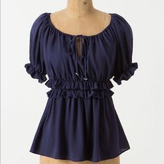 Anthropologie HD in Paris Ruched Peasant Top Navy. Sumptuously silky and ruffled at the sleeves and waist, HD in Paris' peasant blouse is a bit more luxe than usual.   Pullover styling  Polyester Anthropologie Tops