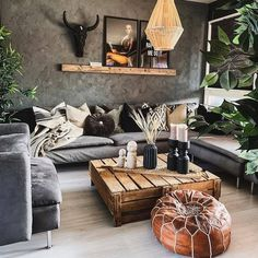 Looking for some black living room décor ideas for inspiration? Here, we have no fewer than 20 black living room ideas to inspire you Bohemian Living Rooms, Bohemian Style Bedrooms, Living Room Grey, Home Living Room, Interior Design Living Room, Living Room Designs, Living Room Decor, Kitchen Living, Boho Style