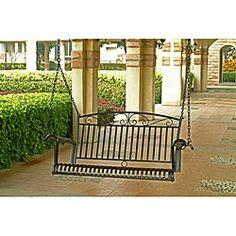 @Overstock - Gives your patio or back porch a classic touch  Porch swing made of durable iron   Versatile black finish blends with any outdoor decorhttp://www.overstock.com/Home-Garden/Tropico-Iron-Porch-Swing/2330594/product.html?CID=214117 $199.99