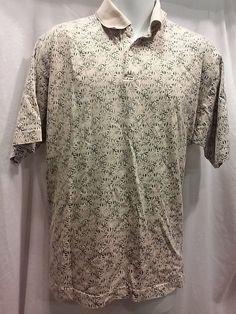 Bill Blass Men's Polo Type Shirt Size L Tan/Sage Green Short Sleeve 100% Cotton #BillBlass #PoloRugby