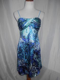 Cache Blue Swirl Dress Sz 6 Sweetheart Top 100% SILK EUC Lined Bubble Hem #Cach #Bubble #Clubwear