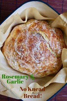 Rosemary Garlic No Knead Bread Recipe!Thats right a loaf of artisan bread that requires no kneading and just 6 simple ingredients then baked to perfection in your Dutch Oven! 5 minutes to make let rise overnight! Rustic and delicious! and super easy! Artisan Bread Recipes, Dutch Oven Recipes, Loaf Recipes, Vegan Recipes, Cooking Recipes, Garlic Bread Recipes, Vegan Garlic Bread, Cornbread Recipes, Jiffy Cornbread