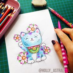Meow! Maneki Neko wishes you A happy, happy Friday!   For more of my tattoo work follow @holly_astral on Instagram or http://holly-astral.tumblr.com/