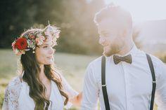 WonderWed Styled Shoot Boho Hochzeit Wald Natur Romantik Brautpaar