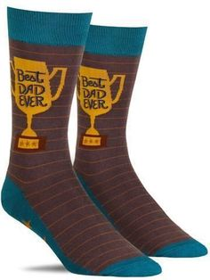 "These fun men's socks feature a gold trophy with the words ""Best Dad Ever"" and gold stars along the bottom. A great gift idea for the dad in your life. Cool Socks, Gold Stars, Best Dad, Mens Fitness, Dads, Menswear, Contents, Drawer, Cotton"