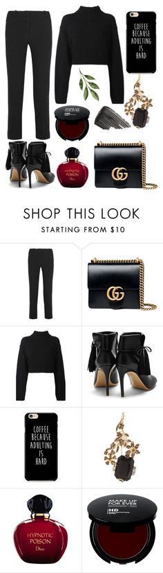 """Happy Black!"" by gatocat ❤ liked on Polyvore featuring Dion Lee, Gucci, DKNY, Rupert Sanderson, Marni, Christian Dior and Burberry"