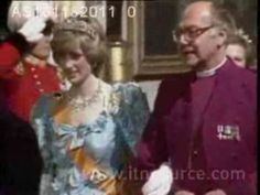 November 16, 1982: Princess Diana wearing an unseen pale blue dress to a State Banquet at Buckingham Palace. The banquet was held by the Queen in honour of Queen Beatrix & Prince Claus of the Netherlands four day state visit to Britain.
