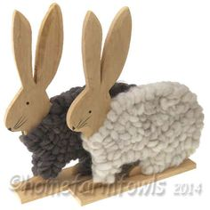 Large Wooden Rabbit With Wool