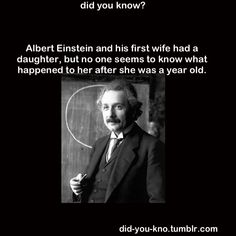 Lieserl was born out of wedlock to Einstein and his future wife, Mileva Maric… Wow Facts, Wtf Fun Facts, True Facts, Random Facts, Funny Facts, The More You Know, Good To Know, Did You Know, Interesting History