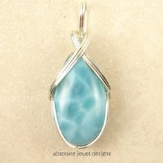 Blue Larimar pendant on .925 silver Best by AbsoluteJewelDesigns