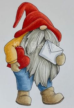 * Update: We are still currently taking and shipping stamp orders* Christmas Gnome, Christmas Art, Christmas Images, Gnome Paint, Magic Doodle, Elves And Fairies, Christmas Cartoons, Christmas Paintings, Valentine Crafts