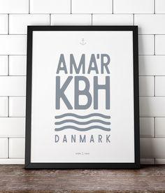 Amager københavn, Copenhagen poster. Plakat fra www.hjemhavn.dk