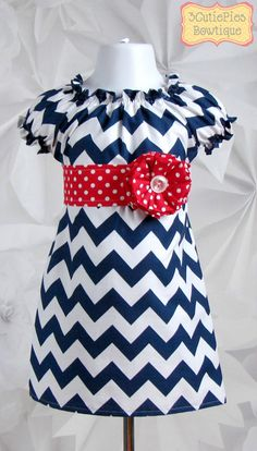 If i could bring myself to spend $44 on a dress for K, i would get this in a heartbeat!  4th of July dress Nautical dress Peasant by 3cutiepiesbowtique, $44.00